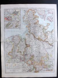 Times 1895 Antique Map. Hanover, Schleswig-Holstein and Lesser North German States